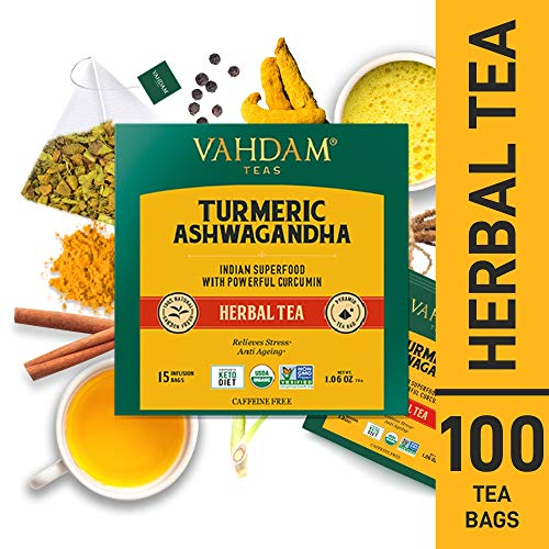 VAHDAM, Turmeric + Ashwagandha SUPERFOOD Herbal Tea, 100 Count | India's Ancient Blend of Turmeric & Garden Fresh Spices | Turmeric Tea Bags | Herbal Tea Bags | Detox Tea | Herbal Tea 100 Count