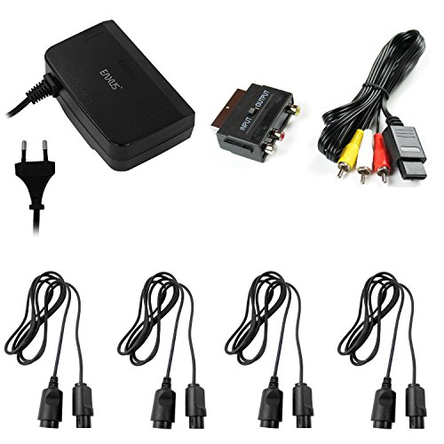 Nintendo 64-verlängerungskabel (AV Cinch Kabel + Scartadapter + Netzteil + 4x Verlängerungskabel für Nintendo 64)