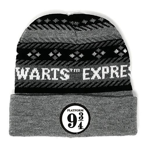 Harry Potter Hogwarts Express Mütze 9 3/4 Erwachsene. Schwarz, grau, weiß. Eine...