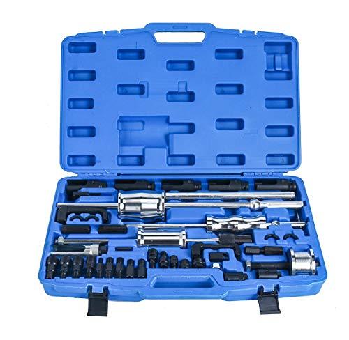 FreeTec Diesel Einspritzdüsen Injektoren Abzieher 40-TLG. Werkzeug mit 3 Gleithämmer von Innen-, Außen- und Klauenabzieher für CDI BMW Opel HDI Mercedes Toyota Renault