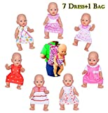 Ebuddy doll Clothes -Include 7 Sets Dolls Clothes +1 Bags for 14-16 inch New Born Baby Dolls,Alive Doll,18 inch American Girl and Our Genration