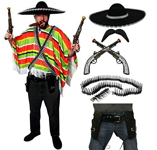 DELUXE MEXIKANISCHE BANDIT WEGELAGERER KOSTÜM-PONCHO MIT SOMBRERO 2 X SCHWARZ, 2 X KLICKEN BULLET GÜRTEL GUNS GUN LEDER HOLSTER VON ILOVEFANCYDRESS ® MIT SCHNURRBART