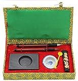 HorBous 7 PCS Chinesische Kalligraphie Inkstone + Wasser Schüssel + Ink Stick + 2 Pinsel Stifte + Tinte Löffel + Geschenkbox Set für Kinder Kind Anfänger