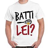 Maglietta Divertente T-Shirt Uomo Con Frasi Fantozzi Partita Tennis Batti Lei 5 Imperdibili, Colore: Bianco, Taglia: M