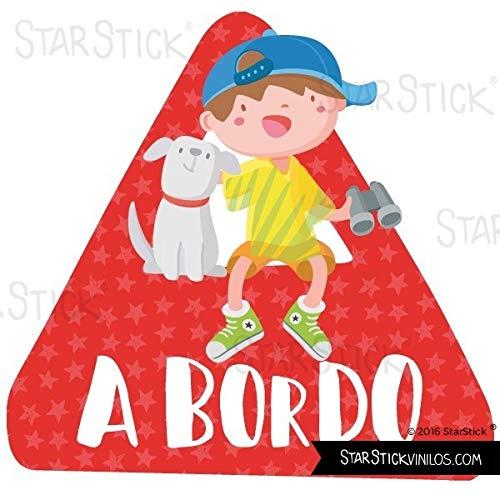 Niño y perro a bordo - Bebé a bordo triángulo para coche - Castellano