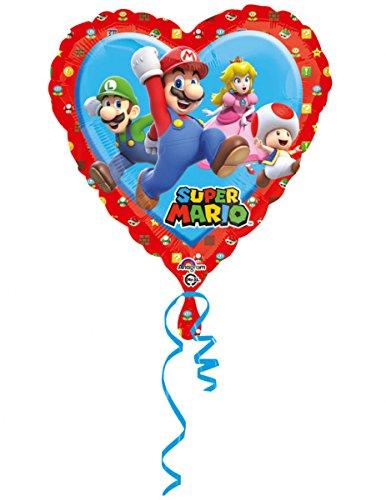 Generique - Super Mario-Herz-Folienballon Raumdeko bunt 43x43cm