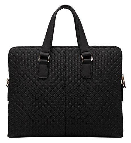 Attraktive Echtes Leder Männer Business Bag Mode geprägte Handtasche (schwarz) (Geprägte Mode Handtasche)