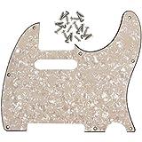 IKN® 3-ply 8 trous Standard Pickguard pour remplacement de guitare Style Tele Precision Precision, avec vis,âgés de perle crème