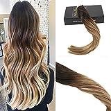 Sunny Extensions de Adhesive Cheveux Ombre Hair 22Pouces Marron Fonce a Caramel Blonde avec Marron Tape Extensions Cheveux 20pcs/50g/set...