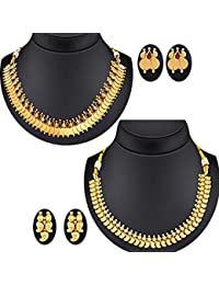 Spargz Gold Plating South India Traditional Mango Pack Of 2 Necklace Set For Women Combo 677