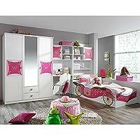 Preisvergleich für Kinderzimmer Zoe3 4-tlg Jugendzimmer Kleiderschrank Schreibtisch + Regal inkl Bettkasten Bett Mädchen GS-geprüft Blauer Engel