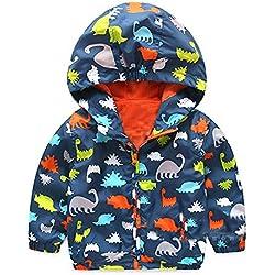 Abrigo con Capucha Niño, LANSKIRT Pequeño Bebé Niños Niñas Manga Larga Estampado de Dinosaurio Abrigo a Prueba de Viento Chaqueta con Capucha Outwear
