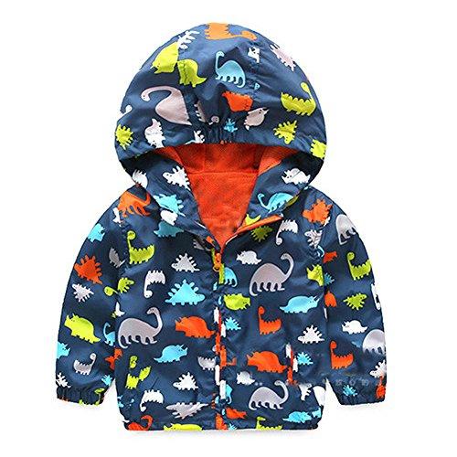 BBring Kinder Kleidung, Baby Infant Mädchen Jungen Dinosaurier Kapuzen Zip Mantel Mantel Jacke Dicke Warme Kleidung (3T, Navy) (Jacke 3t)
