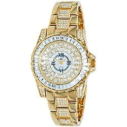 Adee Kaye Royal Damen Gold Blech Armband Blech Gehäuse Uhr AK9-11LG/CR