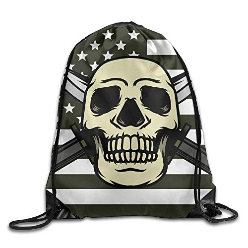 HiExotic Eco-Friendly Turnbeutel Hipster Unisex Skeleton On The Flag of The United States Print Tote Sack Bag Rucksack Drawstring Backpack Travel Bag Daypack