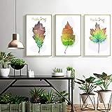 qiumeixia1 Natur Green Leaf Leinwand Bilder Gemälde Nordic Poster Print Wandkunst für Wohnzimmer Schlafzimmer Home Office Decor 50 * 70 cm