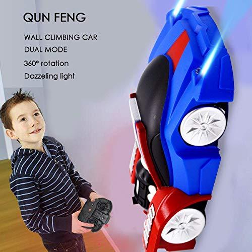 QUN FENG Fernbedienung Auto Fernbedienung Wand Klettern Stunt Auto Elektrische Schwerkraft Sport Rennwagen Dual Modus Bergsteiger Spielzeugauto für Kinder Beste Geburtstagsgeschenk (Blau und Rot)