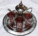 KENTA TÉS Marokkanisches Teeservice: Platte 25 cm + 3 Gläser + Teekanne für 3 Artesanal braun