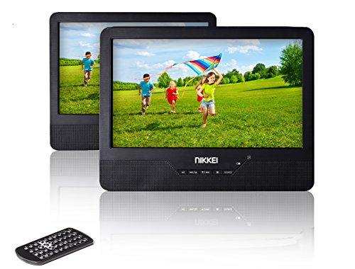 NIKKEI NPD910T - Tragbarer DVD-Player mit 2 Bildschirme / DVD Player Tragbar | 3,5 cm (9 Zoll) | USB, 12 V Adapter | Fernbedienung | Akku - Schwarz (12-volt-blu-ray-dvd-player)