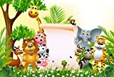 YongFoto 3x2m Fondo de Fotografia Bosque Vida Silvestre Dibujos Animados Animales Parque Zoologico Papel Carta en Blanco Flores arboles Telón de Fondo Photo Booth Infantil Party Photo Studio Atrezzo
