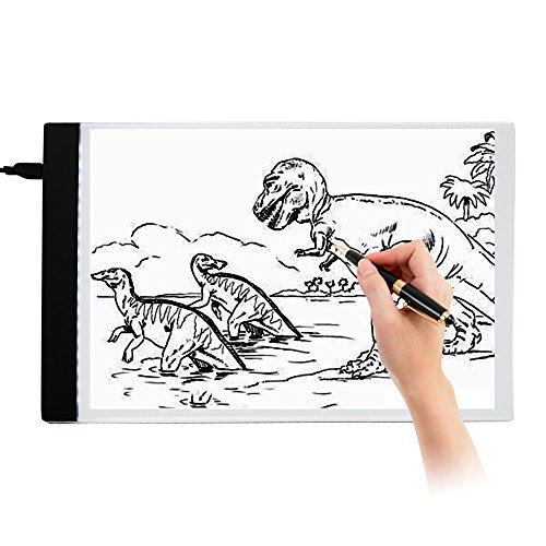 elfisheu LED Leuchttisch A4 Leuchtkasten Lightpad Leuchtplatte zum Zeichnen USB-Stromkabel für Künstler Zeichnen Skizzieren Animation Designen Schablonieren
