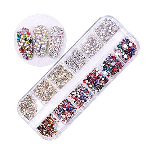MUUZONING 3D StrassVerschiedene formen für Nail Art Dekorationen,Lange Box Nail Perlen Glitter Kristalle Nagel Dekoration Großer Edelstein:#5 -