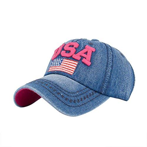 Covermason Casquette de Baseball Femmes Hommes USA Denim Strass Casquette Baseball Snapback Hip hop Flat Hat