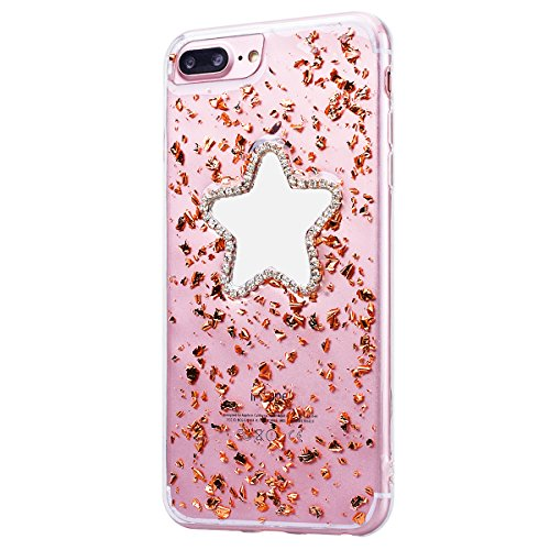 Custodia iPhone 7 Plus / iPhone 8 Plus, VemMore Case di Specchio Stella Morbido Trasparente Silicone TPU Cover con 3D Diamante Luccichio Strass Patterned Design Caso Backcase del Ultra Sottile Bling S Oro di Champagne