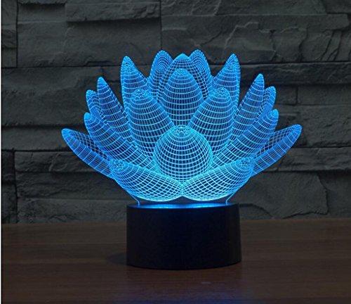 WCUI 3D Petite Lampe de Table, Creative Couple Cadeau d'anniversaire Lotus Seven Color LED Night Light Vision Stéréo Lights USB Plug The Line 193 * 143 * 87mm Sélectionner ( Size : 193*143*87mm )