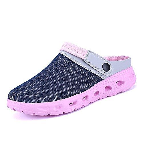 CCZZ Herren Damen Atmungsaktiv Mesh Sandalen Sommer Hausschuhe Rutschfest Outdoor Sport Pantoletten Sandalen Slip-On Garden Clogs (EU 40, Pink)