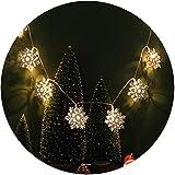 VNEIRW 10er LED Doppelschicht Schneeflocke Lichterkette für Weihanchten Party Garten, Wohnungen, Tanzen, Hochzeit Deko (Warmweiß)
