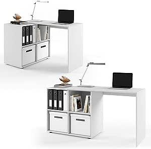 Vicco Regal-Kombination 90°-180° winkelbar weiß Sonoma Eiche - Schreibtisch Eckschreibtisch Regal für Akten, Ordner und Büro PC