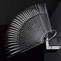 QIMEIYA 40pcs Nail Art Tips Sticks Fan-shaped Nail Polish Display Board with Metal Silver Ring Nail Art Gel Polish Practice Tool (04)