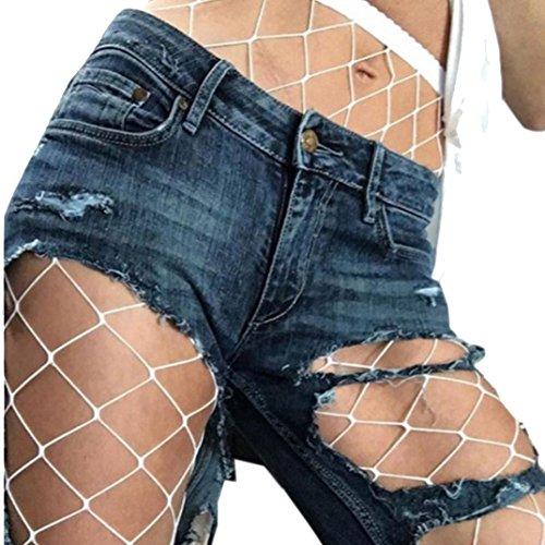 Stretch-große Loch-fischnetz-strumpfhose (Ularma Damen Reizvolle Schwarz Mesh Fischnetz Strumpfhose Spitze High Waist Strümpfe Style 2017 (Weiß))