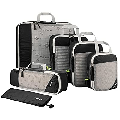 Gonex Compression Packing Cubes Mesh Travel Luggage Packing Organizers Zip Bags