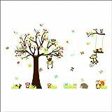 Rainbow Fox Kindergarten Waldtiere Vögel Fox-Eichhörnchen Pilze Bäume Wand-Sticker Aufkleber für Kinderwohnkultur Jungen und Mädchen Kinder Hof Baby Room (150*234cm)