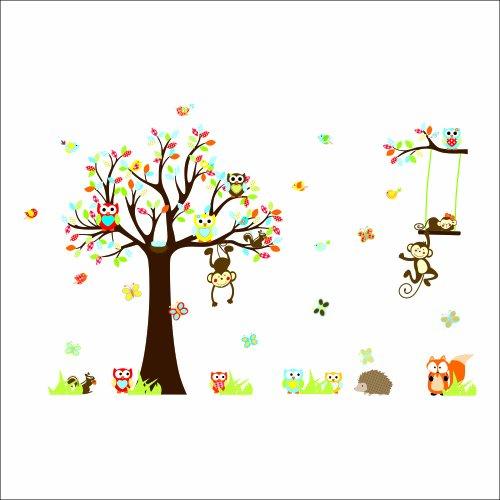 rainbow-fox-kindergarten-waldtiere-vgel-fox-eichhrnchen-pilze-bume-wand-sticker-aufkleber-fr-kinderw
