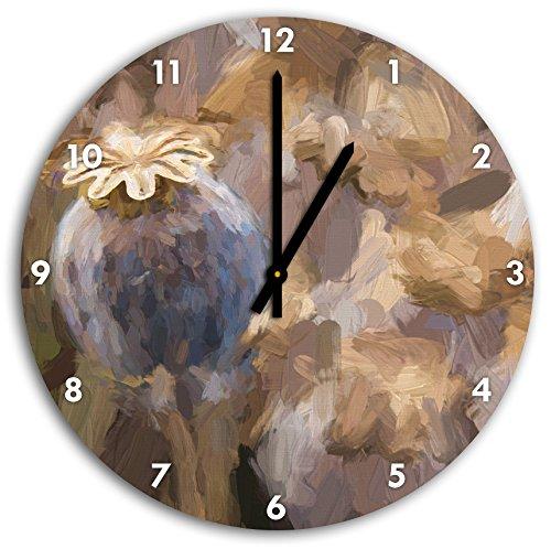 Stil.Zeit Mohnkapsel der Mohnblume Kunst Pinsel Effekt, Wanduhr Durchmesser 30cm mit schwarzen Spitzen Zeigern und Ziffernblatt -