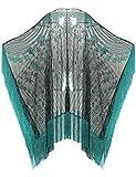 ArtiDeco 1920s Retro Schal Damen Umschlagtücher für Abendkleid Hochzeit Party Braut Schal Gatsby Kostüm Accessoires (Grün)