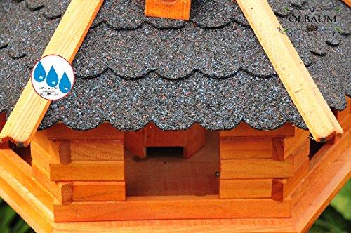 Massiv-Vogelhaus, XXL ca. 70-75 cm, wetterfest Massivdach, mit Silo / Futtersilo für Winterfütterung -Holz Nistkästen & Vogelhäuser- aus Holz mit Silo Holz mit Dach schwarz anthrazit dunkel grau BGX75atOS - 5