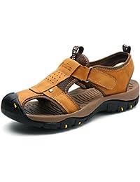 8fbd93e2a0e ZanYeing Sandalias de Cuero para Hombres Verano Exterior Senderismo Sandalias  de Playa