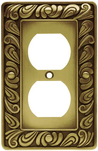 Franklin Brass 64045 Paisley Single Duplex Outlet Wall Plate / Switch Plate / Cover, Tumbled Antique Brass by Franklin Brass - Brainerd Paisley Single