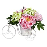 Nearly Natural Peony And Hydrangea Tricycle Silk Flower Arrangement Yellow