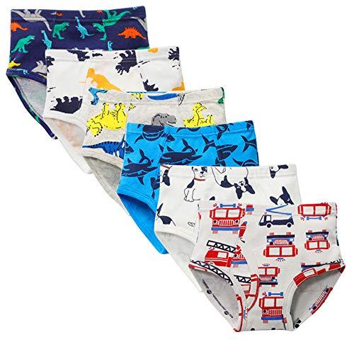 Kidear Weiche Unterwäsche-Serien aus Baumwolle Sortierte Slips für kleine Jungen (Packung mit 6 Stücken) (Stil5, 6-7 Jahre)