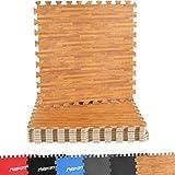 MSPORTS Bodenschutzmatten Set Premium - 8 Schutzmatten in verschiedenen Farben 3,175m² | Bodenschutz 60x60 cm | Stärke: 1,0 cm | Puzzlematten Gymnastikmatte (Holzoptik)