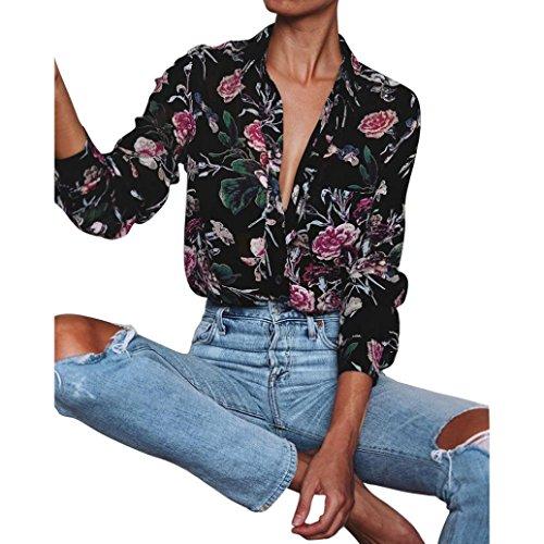 Hemd damen Kolylong® Frauen V-Ausschnitt elegante Blumen gedruckt lange Ärmel Bluse T-Shirt lose Hemd tank tops (XL, Mehrfarbig) (Ärmelloses Hülle Gedruckt)