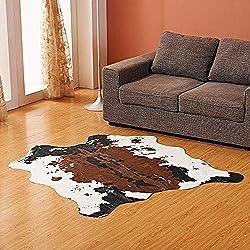 KOBWA Alfombra Piel de Vaca sintética, con Patas de Fila sintética, para Decorar la habitación de los niños/Debajo de la Mesa de café/guardería con temática de Vaquero/Jungla, Vaca, 160x140cm