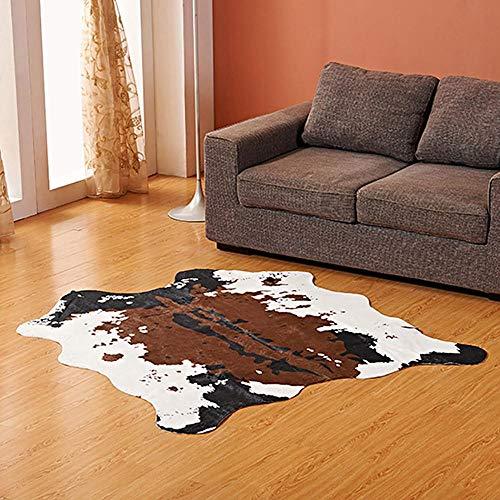 KOBWA Künstlicher Nachahmung Lammfell Sofa Teppich, Lammfellimitat Teppich Kuhfell Teppich Natural Premium Teppich Schlafzimmer Teppich Wohnzimmer Teppich Design Modern