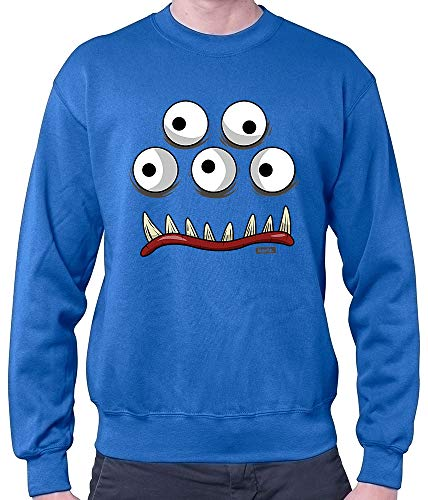 HARIZ Herren Pullover Monster Gesicht Karneval Kostüm Inkl. Geschenk Karte Royal Blau - Herren Blaue Monster Kostüm