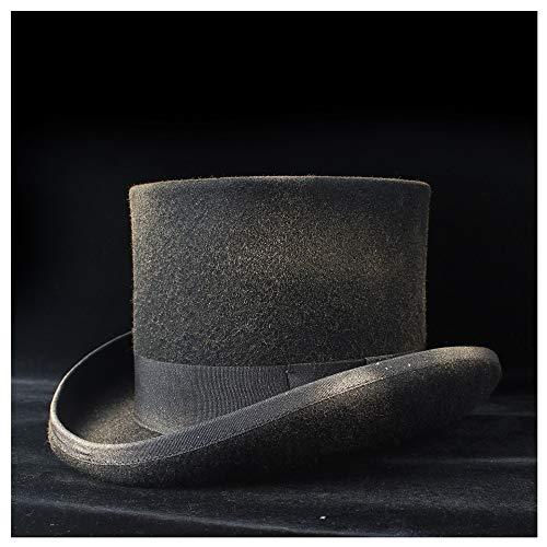 JIALUN-Hat Hut in 4 Größen, 100% Wolle, Steampunk-Top-Hut mit Sprühfarbe, Fedora Mad Hatter Trick Show Caps Fashion & Persönlichkeit Gr. 55 cm, Schwarz